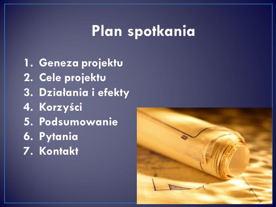 Plan spotkania 2 1.Geneza projektu 2.Cele projektu 3.Działania i efekty 4.Korzyści 5.Podsumowanie 6.Pytania 7.Kontakt