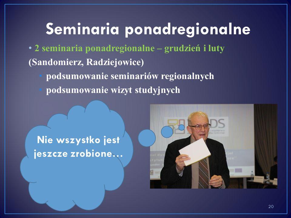 20 Nie wszystko jest jeszcze zrobione… 2 seminaria ponadregionalne – grudzień i luty (Sandomierz, Radziejowice) podsumowanie seminariów regionalnych podsumowanie wizyt studyjnych