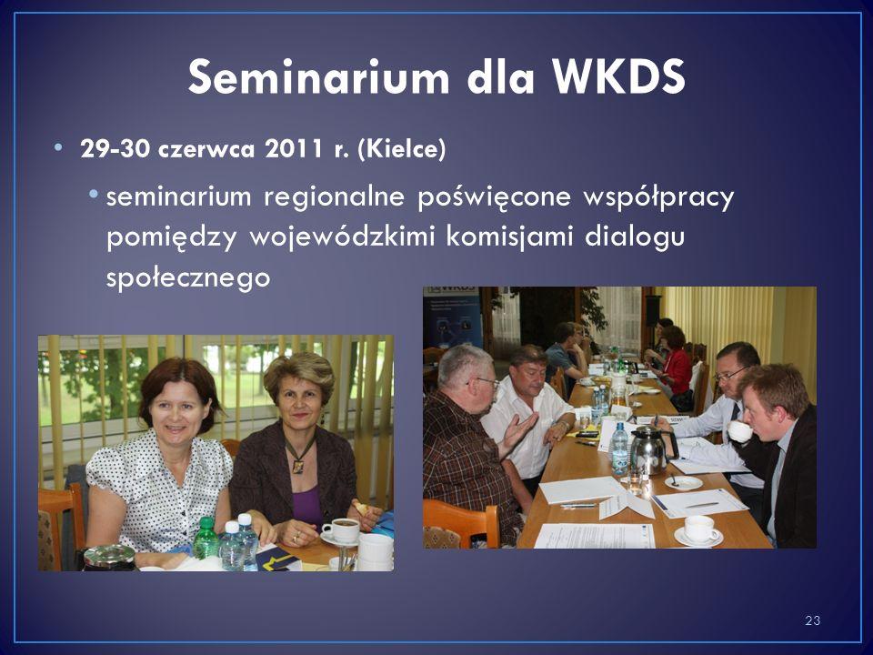 29-30 czerwca 2011 r. (Kielce) seminarium regionalne poświęcone współpracy pomiędzy wojewódzkimi komisjami dialogu społecznego 23 Seminarium dla WKDS