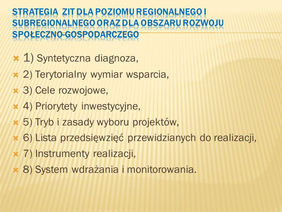  1) Syntetyczna diagnoza,  2) Terytorialny wymiar wsparcia,  3) Cele rozwojowe,  4) Priorytety inwestycyjne,  5) Tryb i zasady wyboru projektów,  6) Lista przedsięwzięć przewidzianych do realizacji,  7) Instrumenty realizacji,  8) System wdrażania i monitorowania.