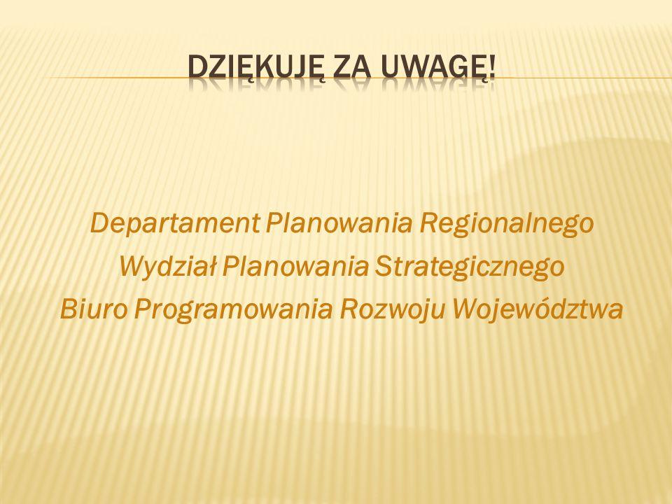 Departament Planowania Regionalnego Wydział Planowania Strategicznego Biuro Programowania Rozwoju Województwa