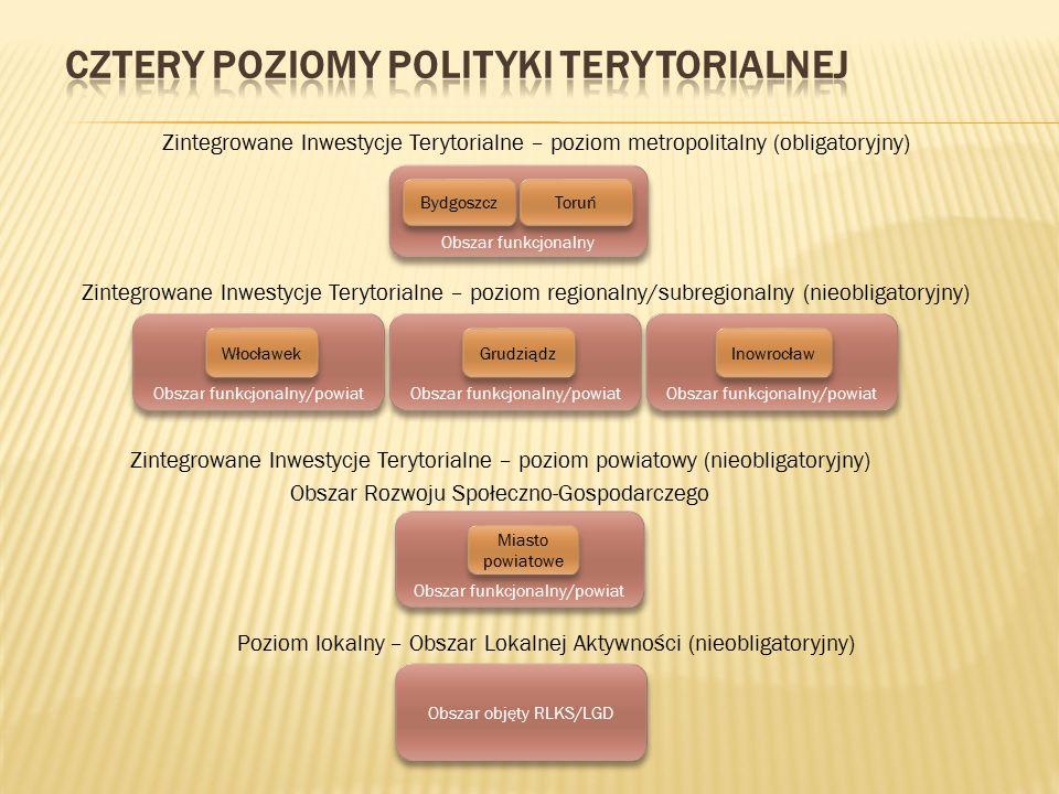 obejmuje miasta Bydgoszcz i Toruń oraz ich obszar funkcjonalny – wg propozycji MRR rozszerzonej o propozycję Zarządu Województwa (tj.