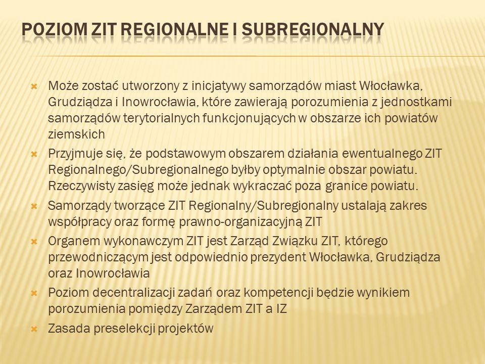  Może zostać utworzony z inicjatywy samorządów miast Włocławka, Grudziądza i Inowrocławia, które zawierają porozumienia z jednostkami samorządów terytorialnych funkcjonujących w obszarze ich powiatów ziemskich  Przyjmuje się, że podstawowym obszarem działania ewentualnego ZIT Regionalnego/Subregionalnego byłby optymalnie obszar powiatu.