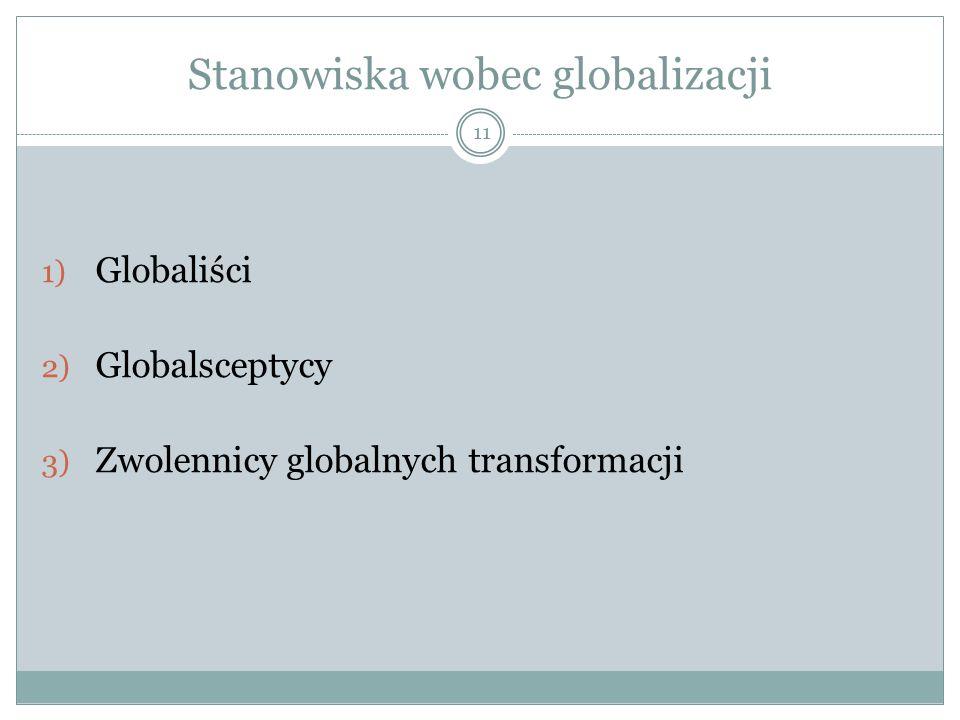 Stanowiska wobec globalizacji 11 1) Globaliści 2) Globalsceptycy 3) Zwolennicy globalnych transformacji