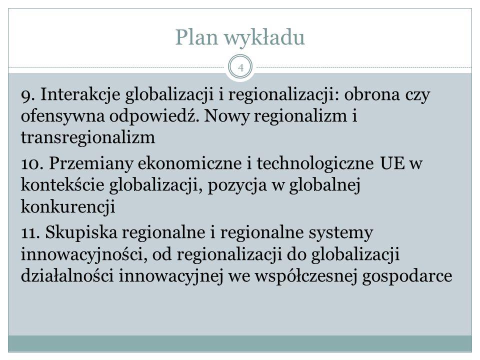 Plan wykładu 9. Interakcje globalizacji i regionalizacji: obrona czy ofensywna odpowiedź.