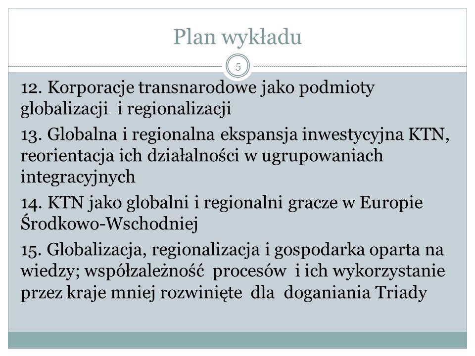 Plan wykładu 12. Korporacje transnarodowe jako podmioty globalizacji i regionalizacji 13.