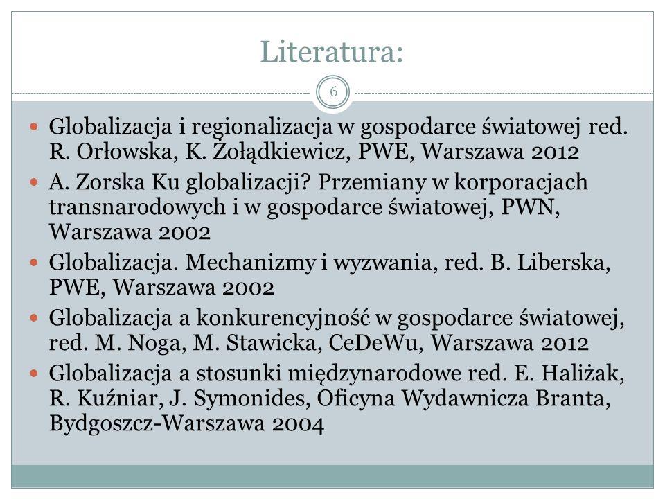 Literatura: Globalizacja i regionalizacja w gospodarce światowej red.