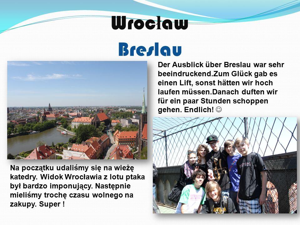 Wroc ł aw Breslau Der Ausblick über Breslau war sehr beeindruckend.Zum Glück gab es einen Lift, sonst hätten wir hoch laufen müssen.Danach duften wir für ein paar Stunden schoppen gehen.