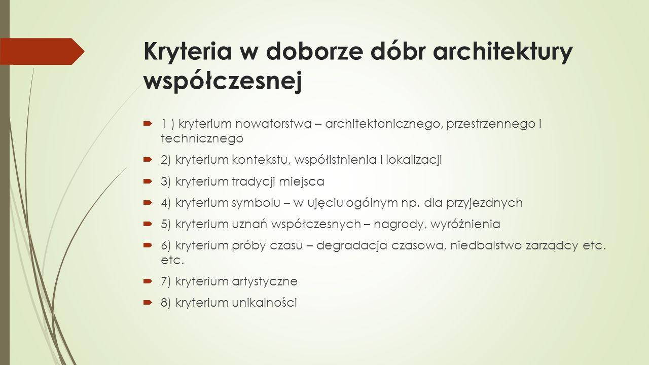 Kryteria w doborze dóbr architektury współczesnej  1 ) kryterium nowatorstwa – architektonicznego, przestrzennego i technicznego  2) kryterium kontekstu, współistnienia i lokalizacji  3) kryterium tradycji miejsca  4) kryterium symbolu – w ujęciu ogólnym np.