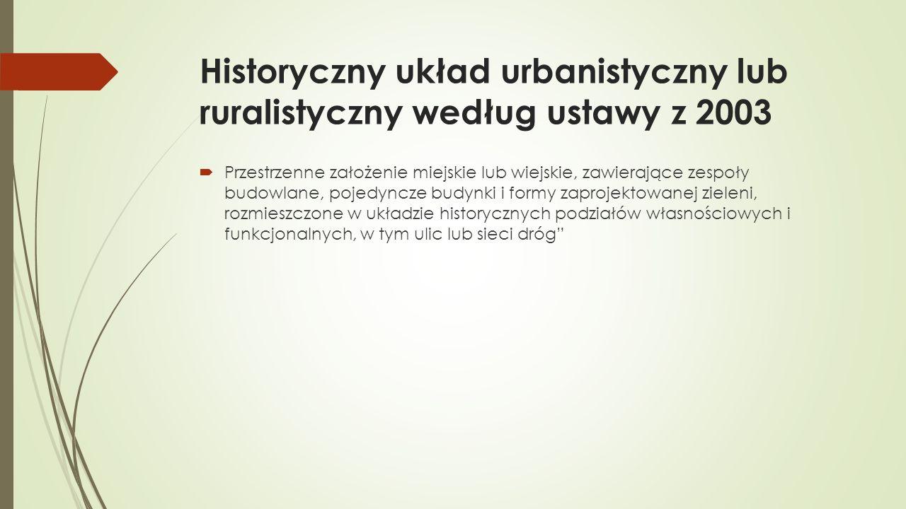 Historyczny układ urbanistyczny lub ruralistyczny według ustawy z 2003  Przestrzenne założenie miejskie lub wiejskie, zawierające zespoły budowlane, pojedyncze budynki i formy zaprojektowanej zieleni, rozmieszczone w układzie historycznych podziałów własnościowych i funkcjonalnych, w tym ulic lub sieci dróg