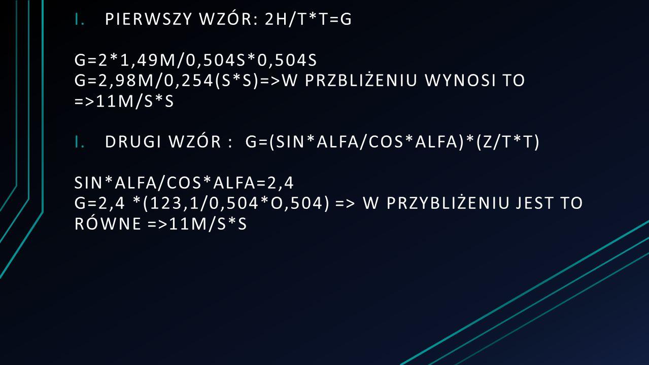 I.PIERWSZY WZÓR: 2H/T*T=G G=2*1,49M/0,504S*0,504S G=2,98M/0,254(S*S)=>W PRZBLIŻENIU WYNOSI TO =>11M/S*S I.DRUGI WZÓR : G=(SIN*ALFA/COS*ALFA)*(Z/T*T) SIN*ALFA/COS*ALFA=2,4 G=2,4 *(123,1/0,504*O,504) => W PRZYBLIŻENIU JEST TO RÓWNE =>11M/S*S
