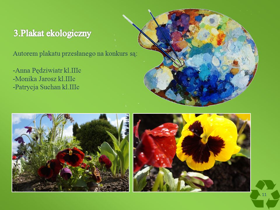 Autorem plakatu przesłanego na konkurs są: -Anna Pędziwiatr kl.IIIc -Monika Jarosz kl.IIIc -Patrycja Suchan kl.IIIc 11