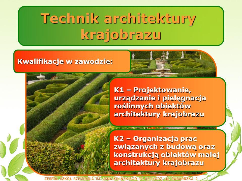 Technik architektury krajobrazu Kwalifikacje w zawodzie: K2 – Organizacja prac związanych z budową oraz konstrukcją obiektów małej architektury krajobrazu K1 – Projektowanie, urządzanie i pielęgnacja roślinnych obiektów architektury krajobrazu