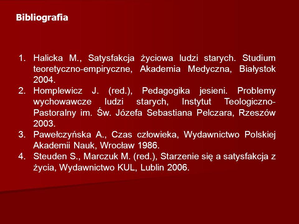 Bibliografia 1.Halicka M., Satysfakcja życiowa ludzi starych.