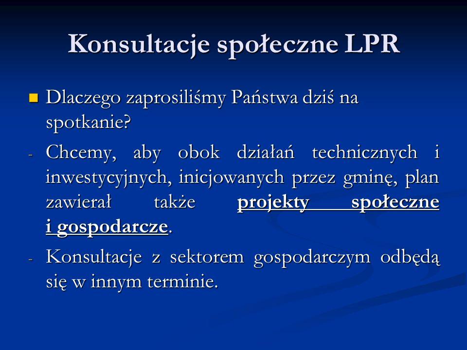 Konsultacje społeczne LPR Rozwój miasta nie może odbyć się bez partnerstwa: Partnerstwo Sektor publiczny Lokalni przedsiębiorcy Sektor pozarządowy