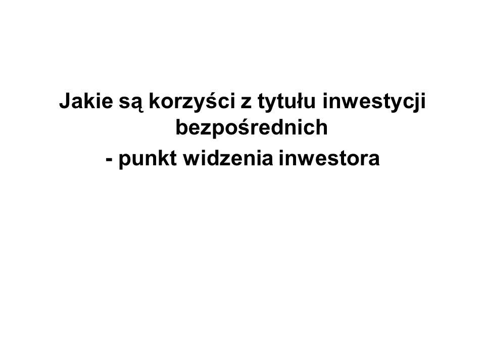 Jakie są korzyści z tytułu inwestycji bezpośrednich - punkt widzenia inwestora