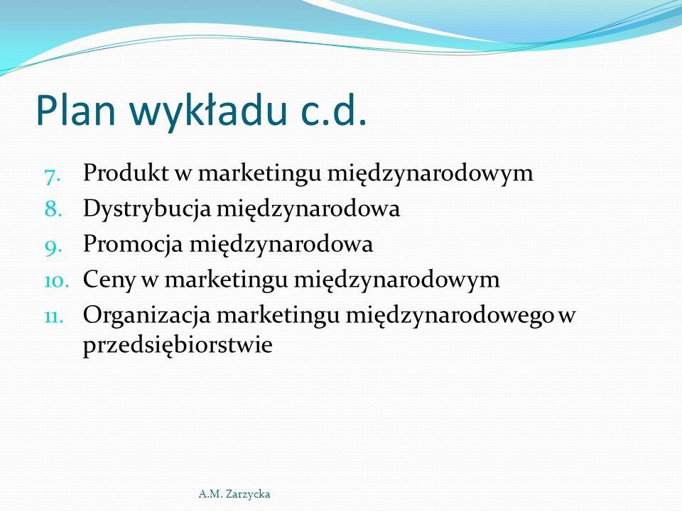 Cechy marketingu międzynarodowego i marketingu globalnego CechyMarketing międzynarodowy Marketing globalny Cel przedsiębiorstwaOsiąganie przewagi na poszczególnych rynkach lokalnych (krajowych) Osiąganie przewagi konkurencyjnej w skali światowej OfertaDostosowana do wymogów rynku lokalnego Standaryzowana Ogólna koncepcja działania Strategia dostosowana do wymogów rynku lokalnego Jednolita strategia w skali światowej A.M.