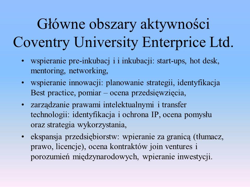 Główne obszary aktywności Coventry University Enterprice Ltd. wspieranie pre-inkubacj i i inkubacji: start-ups, hot desk, mentoring, networking, wspie