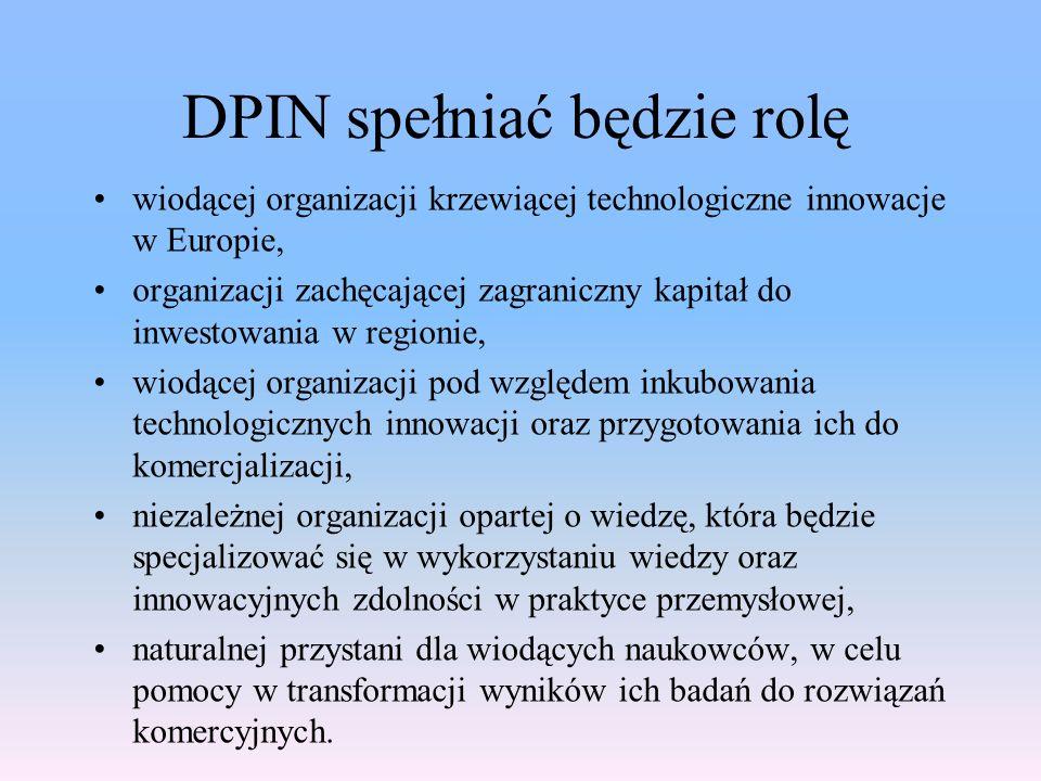 DPIN spełniać będzie rolę wiodącej organizacji krzewiącej technologiczne innowacje w Europie, organizacji zachęcającej zagraniczny kapitał do inwestow