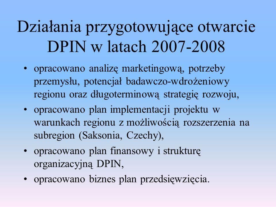 Działania przygotowujące otwarcie DPIN w latach 2007-2008 opracowano analizę marketingową, potrzeby przemysłu, potencjał badawczo-wdrożeniowy regionu