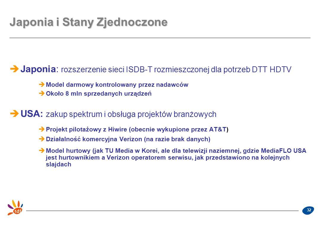 32 Japonia i Stany Zjednoczone  Japonia: rozszerzenie sieci ISDB-T rozmieszczonej dla potrzeb DTT HDTV  Model darmowy kontrolowany przez nadawców  Około 8 mln sprzedanych urządzeń  USA: zakup spektrum i obsługa projektów branżowych  Projekt pilotażowy z Hiwire (obecnie wykupione przez AT&T)  Działalność komercyjna Verizon (na razie brak danych)  Model hurtowy (jak TU Media w Korei, ale dla telewizji naziemnej, gdzie MediaFLO USA jest hurtownikiem a Verizon operatorem serwisu, jak przedstawiono na kolejnych slajdach