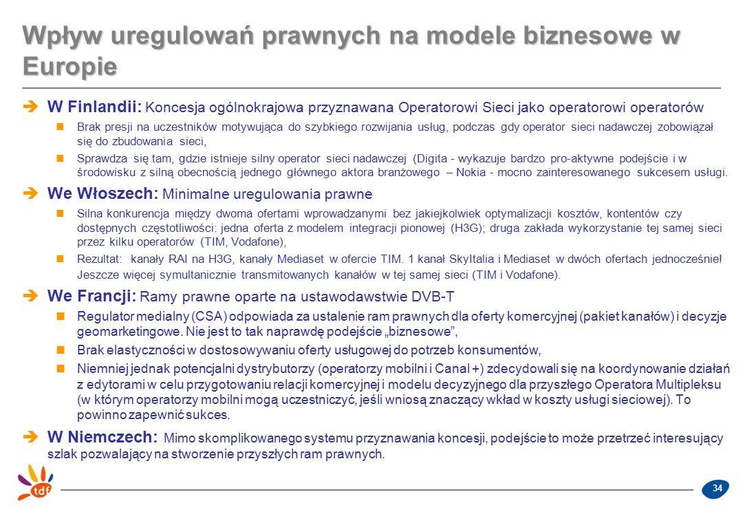 34 Wpływ uregulowań prawnych na modele biznesowe w Europie  W Finlandii: Koncesja ogólnokrajowa przyznawana Operatorowi Sieci jako operatorowi operatorów Brak presji na uczestników motywująca do szybkiego rozwijania usług, podczas gdy operator sieci nadawczej zobowiązał się do zbudowania sieci, Sprawdza się tam, gdzie istnieje silny operator sieci nadawczej (Digita - wykazuje bardzo pro-aktywne podejście i w środowisku z silną obecnością jednego głównego aktora branżowego – Nokia - mocno zainteresowanego sukcesem usługi.