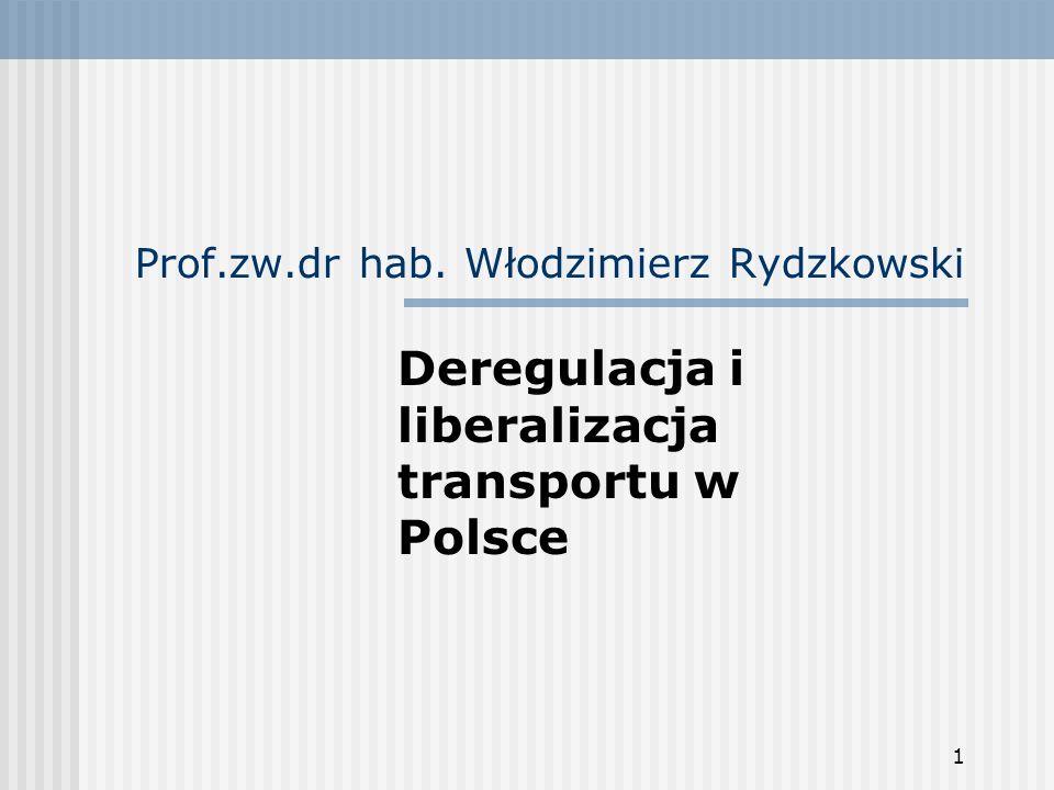 1 Prof.zw.dr hab. Włodzimierz Rydzkowski Deregulacja i liberalizacja transportu w Polsce