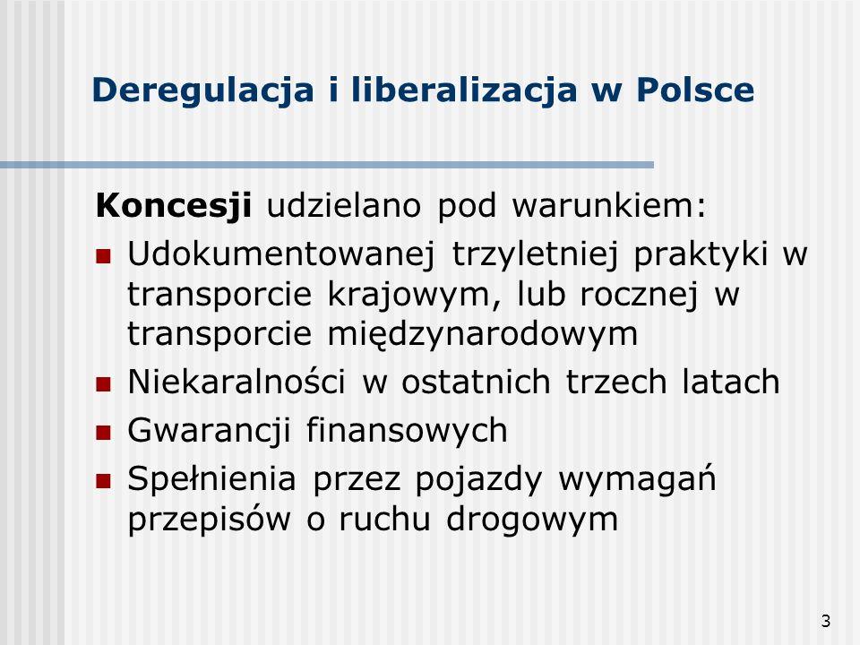 3 Deregulacja i liberalizacja w Polsce Koncesji udzielano pod warunkiem: Udokumentowanej trzyletniej praktyki w transporcie krajowym, lub rocznej w transporcie międzynarodowym Niekaralności w ostatnich trzech latach Gwarancji finansowych Spełnienia przez pojazdy wymagań przepisów o ruchu drogowym