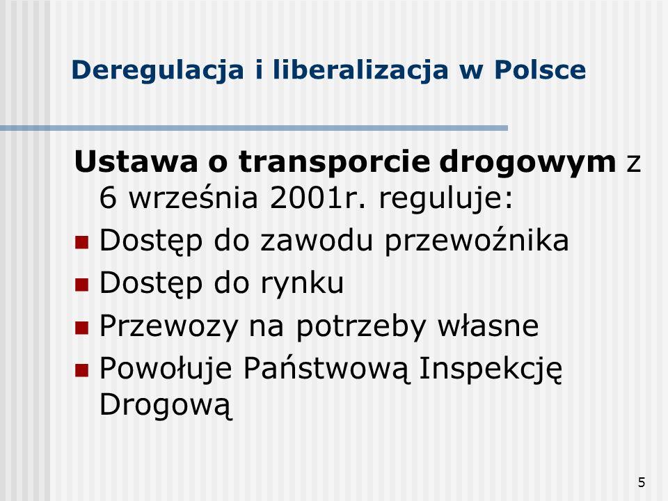 5 Deregulacja i liberalizacja w Polsce Ustawa o transporcie drogowym z 6 września 2001r.