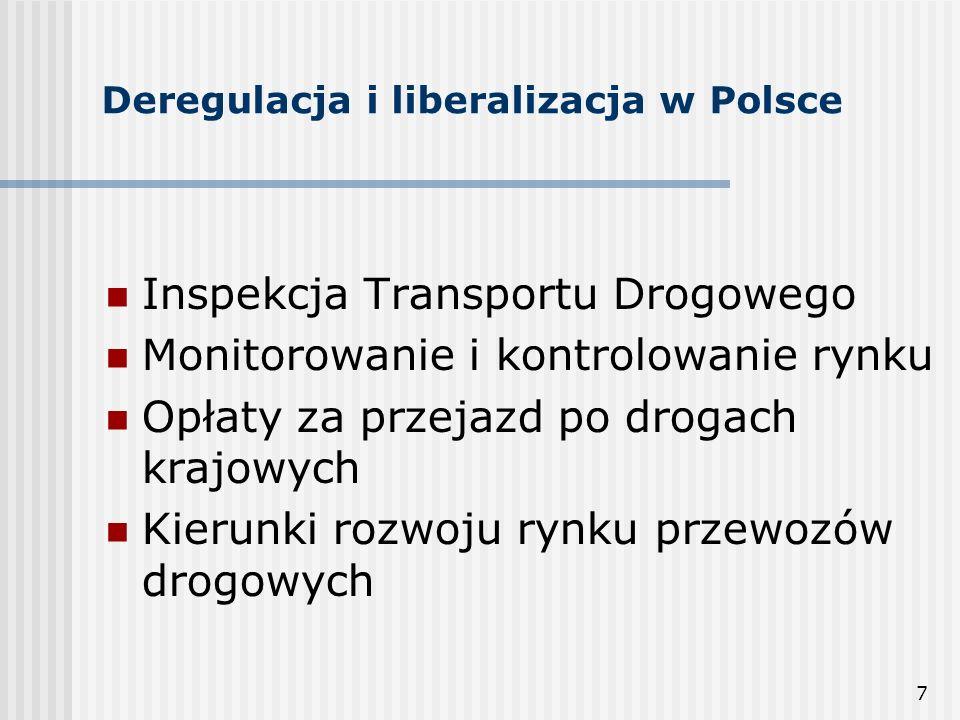 7 Deregulacja i liberalizacja w Polsce Inspekcja Transportu Drogowego Monitorowanie i kontrolowanie rynku Opłaty za przejazd po drogach krajowych Kierunki rozwoju rynku przewozów drogowych
