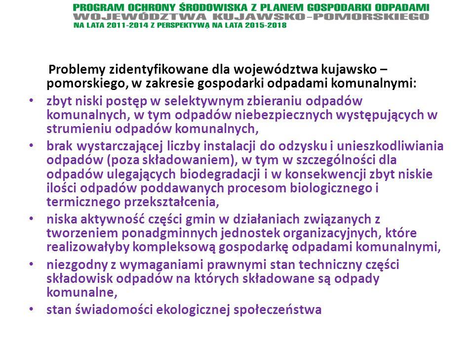 Problemy zidentyfikowane dla województwa kujawsko – pomorskiego, w zakresie gospodarki odpadami komunalnymi: zbyt niski postęp w selektywnym zbieraniu odpadów komunalnych, w tym odpadów niebezpiecznych występujących w strumieniu odpadów komunalnych, brak wystarczającej liczby instalacji do odzysku i unieszkodliwiania odpadów (poza składowaniem), w tym w szczególności dla odpadów ulegających biodegradacji i w konsekwencji zbyt niskie ilości odpadów poddawanych procesom biologicznego i termicznego przekształcenia, niska aktywność części gmin w działaniach związanych z tworzeniem ponadgminnych jednostek organizacyjnych, które realizowałyby kompleksową gospodarkę odpadami komunalnymi, niezgodny z wymaganiami prawnymi stan techniczny części składowisk odpadów na których składowane są odpady komunalne, stan świadomości ekologicznej społeczeństwa