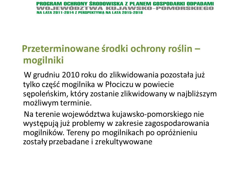 Przeterminowane środki ochrony roślin – mogilniki W grudniu 2010 roku do zlikwidowania pozostała już tylko część mogilnika w Płociczu w powiecie sępoleńskim, który zostanie zlikwidowany w najbliższym możliwym terminie.