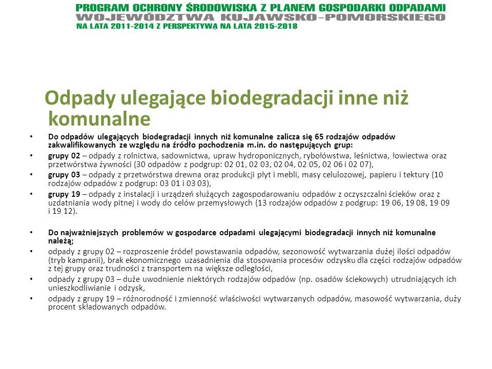 Odpady ulegające biodegradacji inne niż komunalne Do odpadów ulegających biodegradacji innych niż komunalne zalicza się 65 rodzajów odpadów zakwalifikowanych ze względu na źródło pochodzenia m.in.