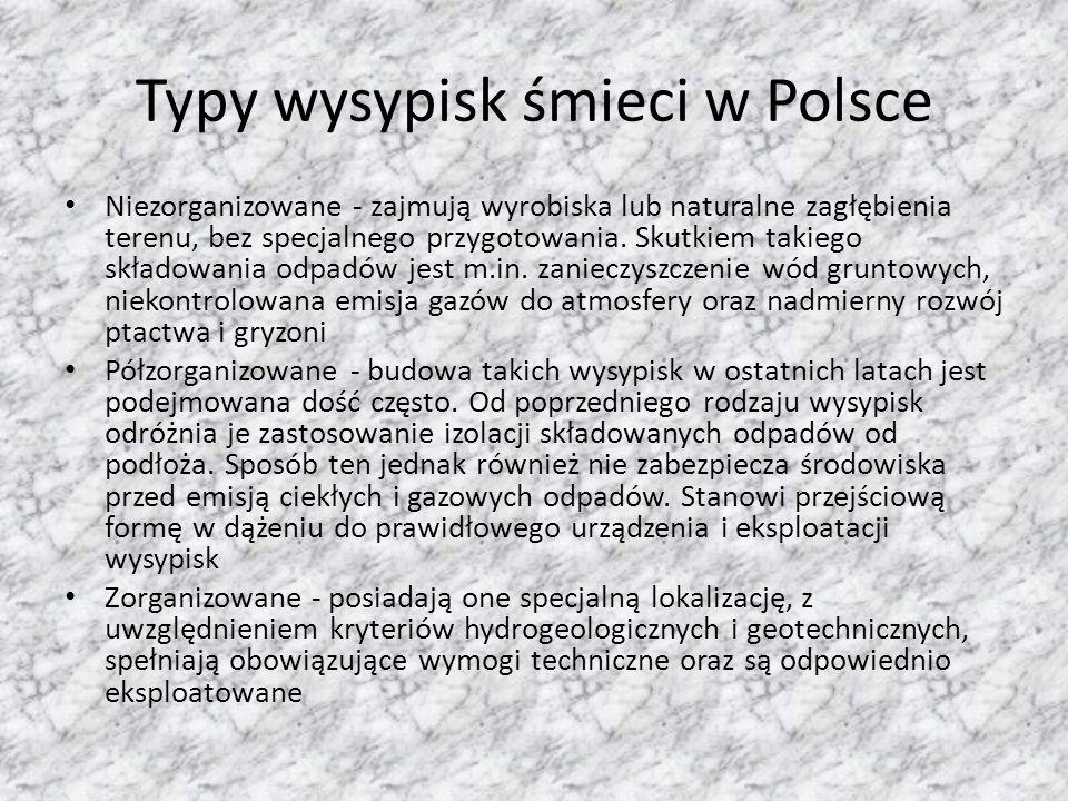 Typy wysypisk śmieci w Polsce Niezorganizowane - zajmują wyrobiska lub naturalne zagłębienia terenu, bez specjalnego przygotowania.