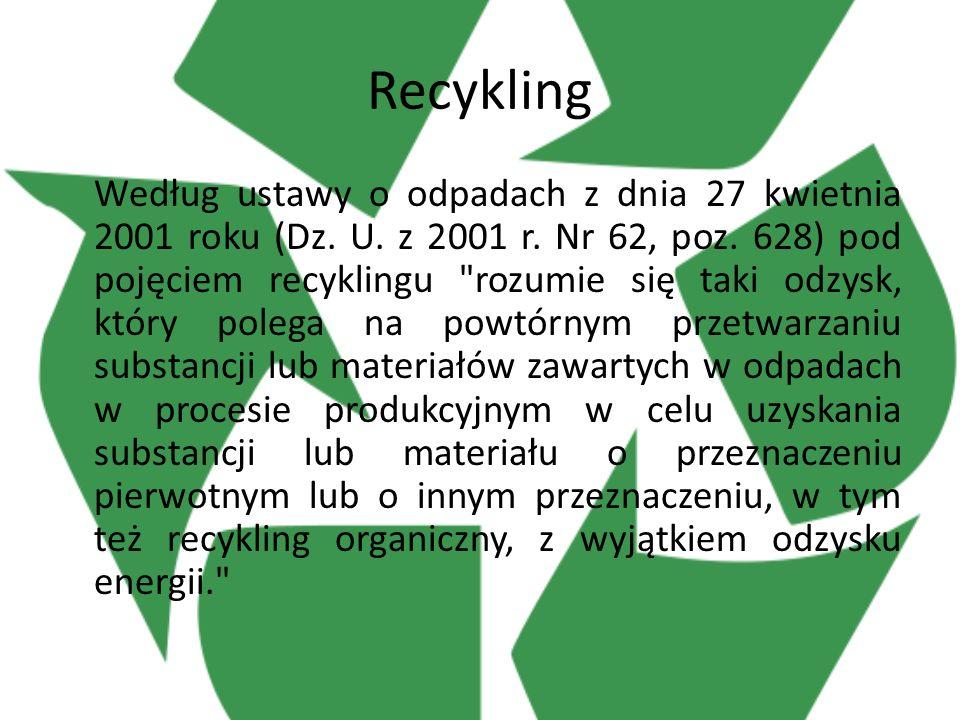 Recykling Według ustawy o odpadach z dnia 27 kwietnia 2001 roku (Dz.