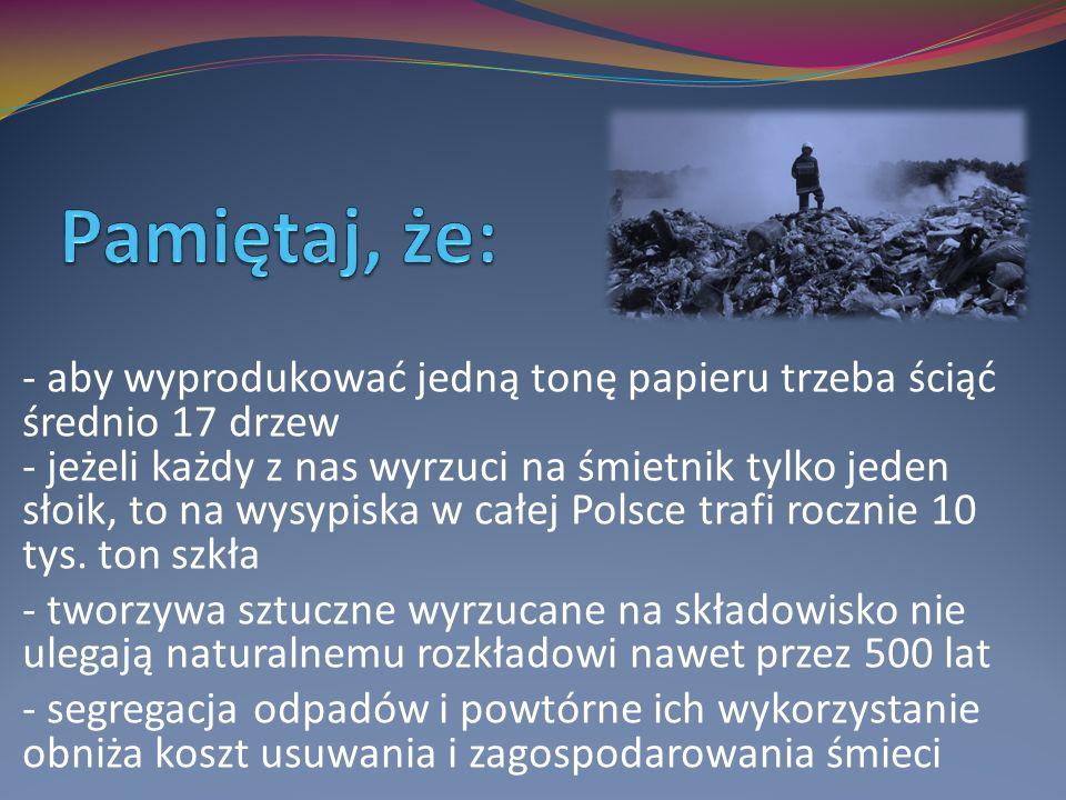 - aby wyprodukować jedną tonę papieru trzeba ściąć średnio 17 drzew - jeżeli każdy z nas wyrzuci na śmietnik tylko jeden słoik, to na wysypiska w całej Polsce trafi rocznie 10 tys.