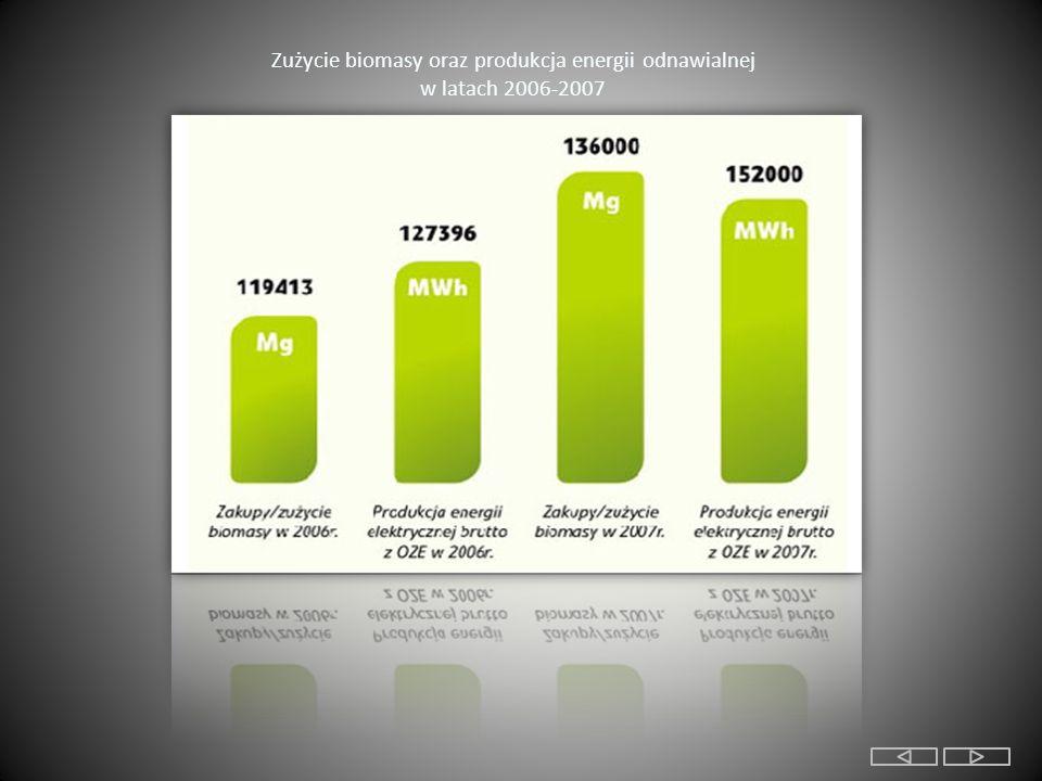 Zużycie biomasy oraz produkcja energii odnawialnej w latach 2006-2007