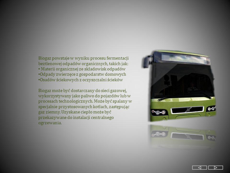 Biogaz powstaje w wyniku procesu fermentacji beztlenowej odpadów organicznych, takich jak: Materii organicznej ze składowisk odpadów Odpady zwierzęce z gospodarstw domowych Osadów ściekowych z oczyszczalni ścieków Biogaz może być dostarczany do sieci gazowej, wykorzystywany jako paliwo do pojazdów lub w procesach technologicznych.