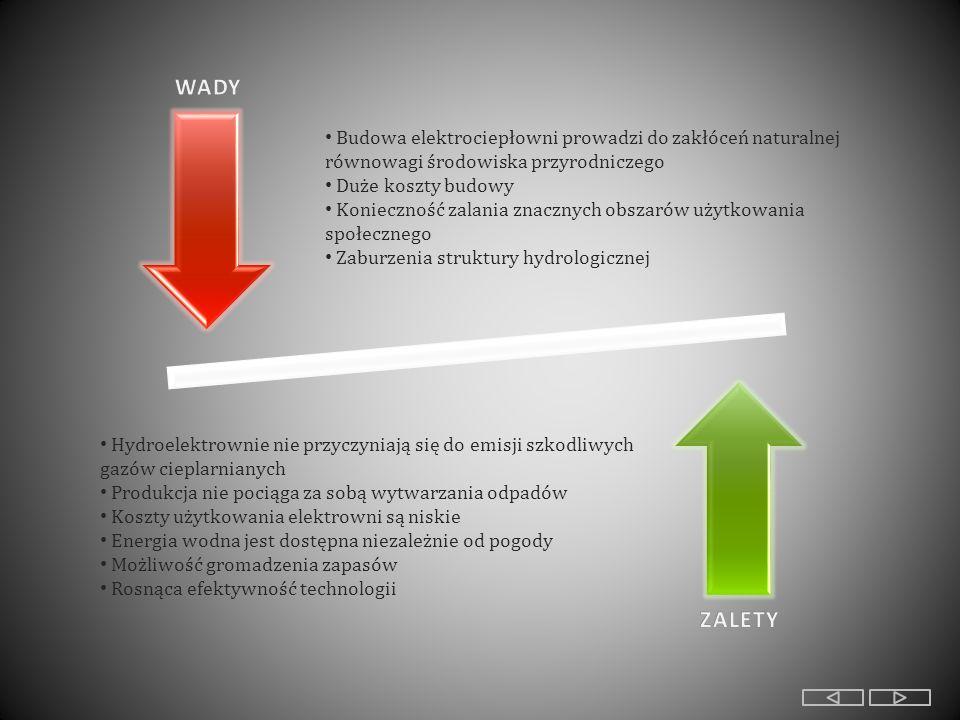 Hydroelektrownie nie przyczyniają się do emisji szkodliwych gazów cieplarnianych Produkcja nie pociąga za sobą wytwarzania odpadów Koszty użytkowania elektrowni są niskie Energia wodna jest dostępna niezależnie od pogody Możliwość gromadzenia zapasów Rosnąca efektywność technologii Budowa elektrociepłowni prowadzi do zakłóceń naturalnej równowagi środowiska przyrodniczego Duże koszty budowy Konieczność zalania znacznych obszarów użytkowania społecznego Zaburzenia struktury hydrologicznej