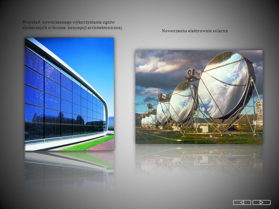 Przykład nowoczesnego wykorzystania ogniw słonecznych w formie koncepcji architektonicznej.
