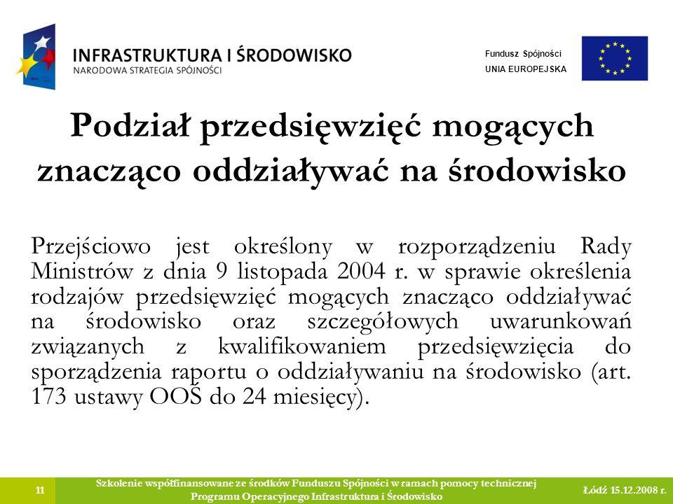 Podział przedsięwzięć mogących znacząco oddziaływać na środowisko 11 Szkolenie współfinansowane ze środków Funduszu Spójności w ramach pomocy technicznej Programu Operacyjnego Infrastruktura i Środowisko Łódź 15.12.2008 r.