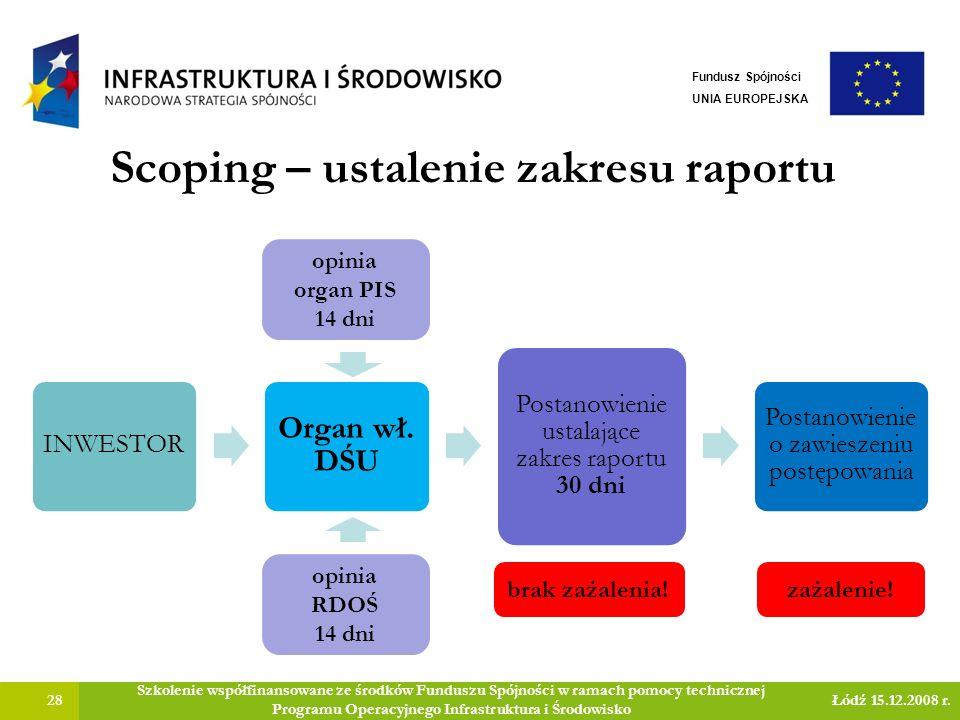 Scoping – ustalenie zakresu raportu 28 Szkolenie współfinansowane ze środków Funduszu Spójności w ramach pomocy technicznej Programu Operacyjnego Infrastruktura i Środowisko Łódź 15.12.2008 r.