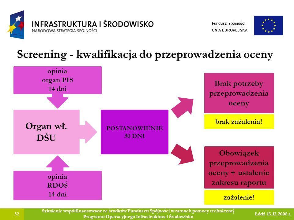 Screening - kwalifikacja do przeprowadzenia oceny 32 Szkolenie współfinansowane ze środków Funduszu Spójności w ramach pomocy technicznej Programu Operacyjnego Infrastruktura i Środowisko Łódź 15.12.2008 r.