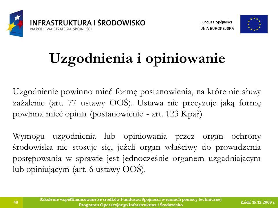 Uzgodnienia i opiniowanie 48 Szkolenie współfinansowane ze środków Funduszu Spójności w ramach pomocy technicznej Programu Operacyjnego Infrastruktura i Środowisko Łódź 15.12.2008 r.