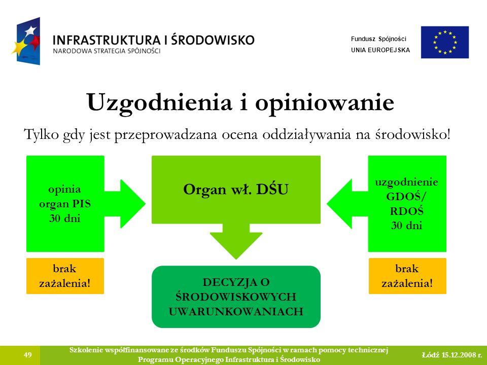 Uzgodnienia i opiniowanie 49 Szkolenie współfinansowane ze środków Funduszu Spójności w ramach pomocy technicznej Programu Operacyjnego Infrastruktura i Środowisko Łódź 15.12.2008 r.