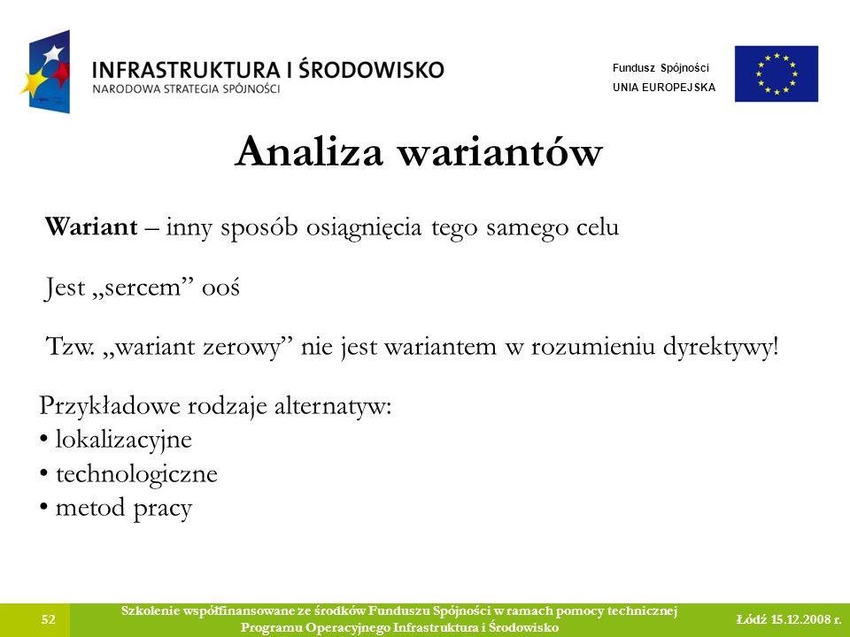 Analiza wariantów 52 Szkolenie współfinansowane ze środków Funduszu Spójności w ramach pomocy technicznej Programu Operacyjnego Infrastruktura i Środowisko Łódź 15.12.2008 r.