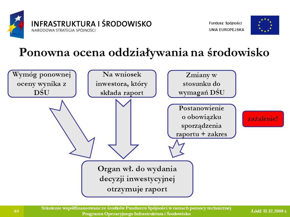 Ponowna ocena oddziaływania na środowisko 64 Szkolenie współfinansowane ze środków Funduszu Spójności w ramach pomocy technicznej Programu Operacyjnego Infrastruktura i Środowisko Łódź 15.12.2008 r.