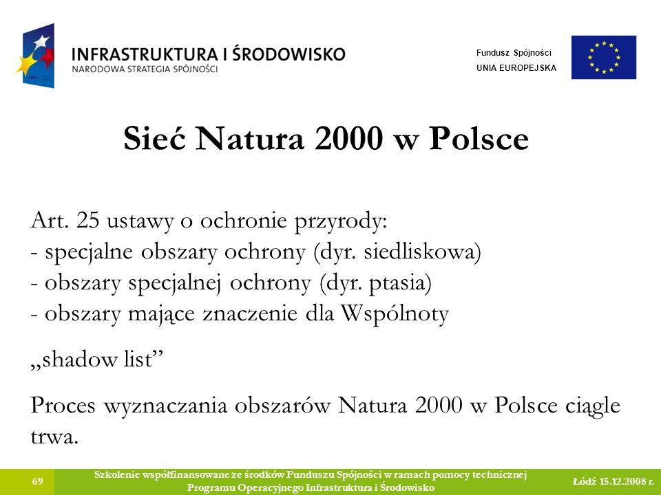 Sieć Natura 2000 w Polsce 69 Szkolenie współfinansowane ze środków Funduszu Spójności w ramach pomocy technicznej Programu Operacyjnego Infrastruktura i Środowisko Łódź 15.12.2008 r.