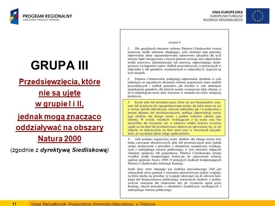 GRUPA III Przedsięwzięcia, które nie są ujęte w grupie I i II, jednak mogą znacząco oddziaływać na obszary Natura 2000 (zgodnie z dyrektywą Siedliskową) 11Urząd Marszałkowski Województwa Warmińsko-Mazurskiego w Olsztynie