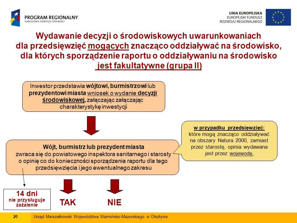 20Urząd Marszałkowski Województwa Warmińsko-Mazurskiego w Olsztynie Wydawanie decyzji o środowiskowych uwarunkowaniach dla przedsięwzięć mogących znac